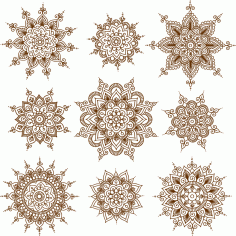 Vector Illustration Of Mehndi Ornaments Free CDR Vectors File