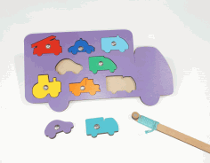 Vehicles Shapes Puzzle Wooden Peg Puzzles For Toddlers Laser Cut CDR File