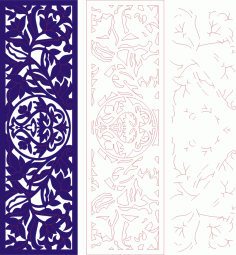 Vertical Floral Banner Screen Grill Template Laser Cut CDR File