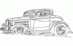 Vintage Model Car Sticker DXF File