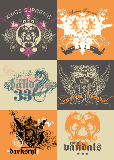 Vintage T-Shirt Design With Dragons Free CDR File