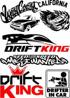 Vinyl stickers Drift in Car Vector Pack Free CDR Vectors File