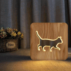 Walking Cat Wooden 3D Night Lamp Laser Cut Free DXF File