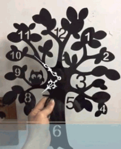 Wall Clock Tree File for Laser Cut DXF Vectors File