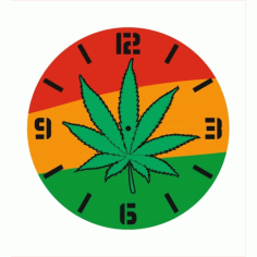 Wall Clock with Pot Leaf Laser Cut Free Vector CDR File