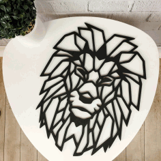 Wall Decor Wood Panel Geometric Lion Head Free CDR File