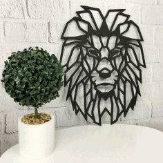 Wall Decor Wood Panel Geometric Lion Head Laser Cut CDR File