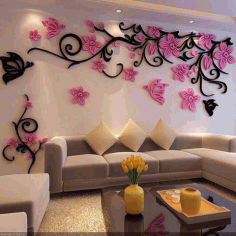Wall Decoration Floral Design CDR File