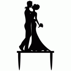 Wedding Cake Topper Bride and Groom Silhouette Cake Decorations CDR File