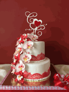 Wedding Cake Topper with Hearts Template CDR File