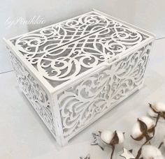 Wedding Card Box Birthday Decorations Wooden Card Box With Lock Laser Cut CDR File