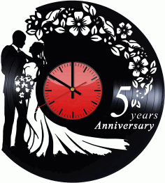 Wedding Vinyl Record Wall Clock Laser Cut DXF File