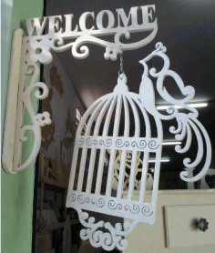 Welcome Sign With Bird Cage CDR File