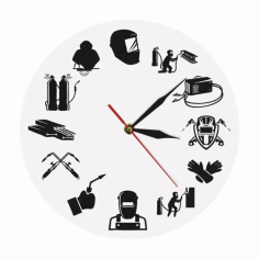 Welding Wall Clock Welder Silhouette Modern Wall Clock Laser Cut CDR File
