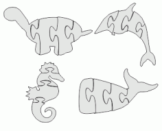 Whale Jigsaw Puzzle Laser Cut DXF File