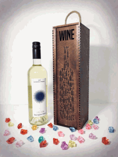 Wine Bottle Engraved Storage Case With Sliding Lid CDR File