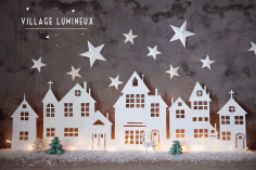 Winter Village Home Decor Laser Cut Idea CDR File