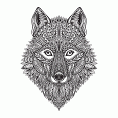 Wolf Face Vector Art CDR File