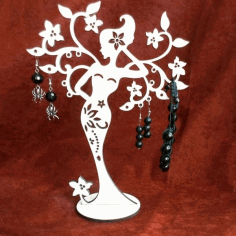 Woman Tree Stand for jewelry CNC Laser Cut Free CDR File