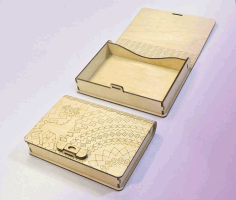 Wood Book Box with Clasp Template Laser Cut CDR File