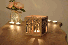 Wood Candle Holder Laser Cut CDR File
