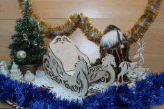 Wood Christmas Sleigh and Reindeer Laser Cut CDR File
