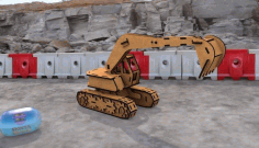 Wood Excavator 3D Puzzle Laser Cut Template CDR File