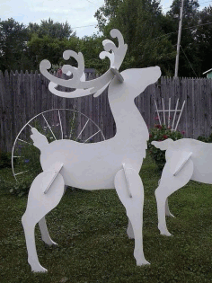 Wood Reindeer Christmas Yard Art Lawn Decoration Laser Cut CDR File