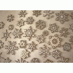 Wood Snowflake Ornaments Laser Cut Free Vector CDR File