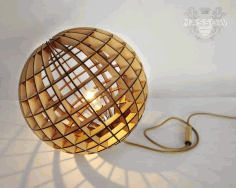 Wood Spherical Lamp Laser Cut DXF File