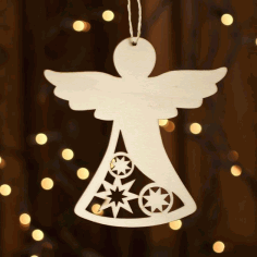 Wooden Angel Christmas Ornament Laser Cut CDR File