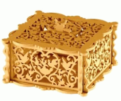 Wooden Box with Bird for Laser Cut CNCmotifs CDR File