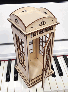 Wooden British Telephone Booth Laser Cut CDR File
