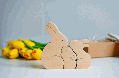 Wooden Bunny Puzzle Bunny Family Easter Kids Gift Toys Laser Cut Free CDR File
