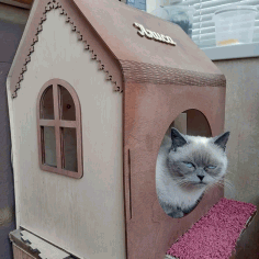 Wooden Cat House Cat Furniture Cat Lover Gift Laser Cut CDR File