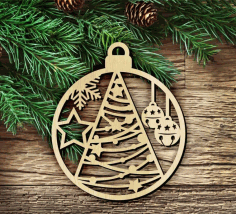 Wooden Christmas Hanging Decoration Laser Cut Design CDR File