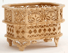 Wooden Decorative Basket CNC Plans Laser Cut CDR File