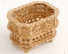 Wooden Decorative Basket Template Laser Cut DXF File