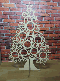 Wooden Decorative Christmas Tree Laser Cut CDR File