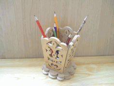 Wooden Decorative Pencil Holder Laser Cut Free CDR File