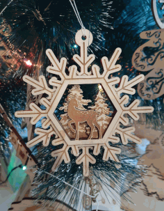 Wooden Deer Snowflakes Christmas Tree Toys Laser Cut CDR File