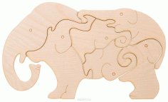 Wooden Elephants Jigsaw Puzzle for Kids Children Indoor Games DXF File