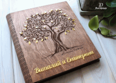 Wooden Family Photo Album Scrapbook Book Cover Free CDR File