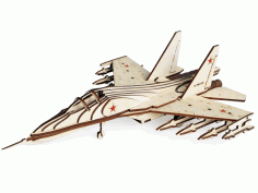 Wooden Fighter SU-30 Model Toy Laser Cut Free CDR File