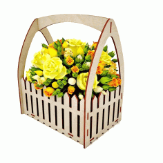 Wooden Flower Box Basket with Fence 4mm Laser Cut CDR File