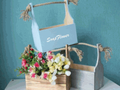 Wooden Flower Boxes Basket for Flowers Free Vector CDR File