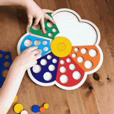 Wooden Flower Toddler Shape Sorter Preschool Puzzle Toy Free Vector CDR File