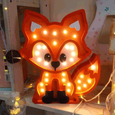 Wooden Fox Lamp Laser Cut Free CDR Vectors File