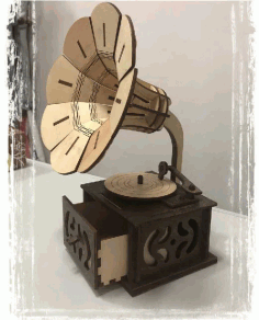 Wooden Gramophone CNC Laser Cutting Free CDR Vectors File