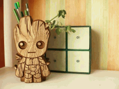 Wooden Groot Box CNC Cut File Free DXF File